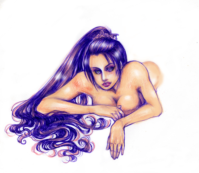 Here's an example of working in ballpoint pen.  The hand drawn image was brought into Photoshop where I added a few extras - like the shine in her hair.