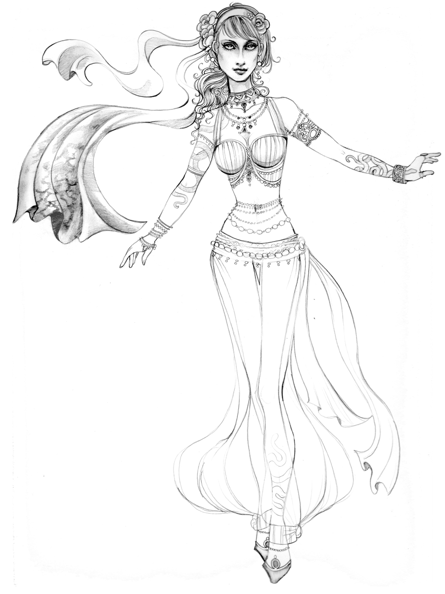 Ladies of the harem has always been a favorite drawing subject of mine.