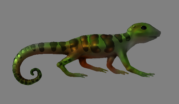After I created the lizard I popped the image over in Photoshop to finish up doing the shadows on his underbelly.  The program was astonishingly easy to figure out and really fun!