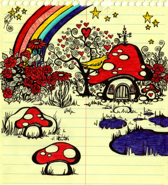 I love this goofy drawing of the smurf village done on the fly in a notebook.