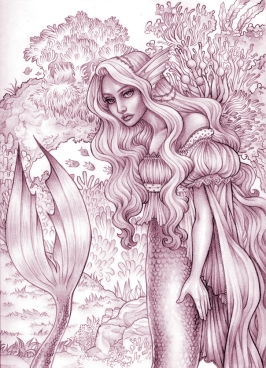 Mermaid II - sketch | Pencil & Digital, 2014
