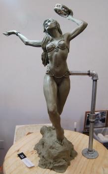 Tambourine Dancer sculpture   Chavant plasteline, 2014