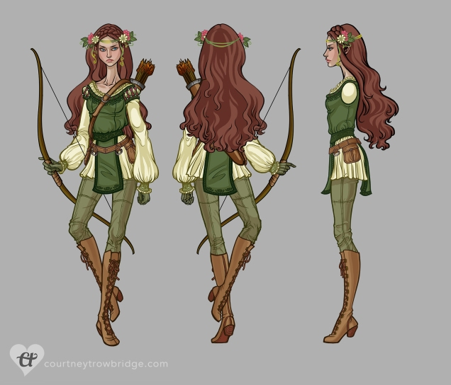 Maid Marian - archer costume turnaround