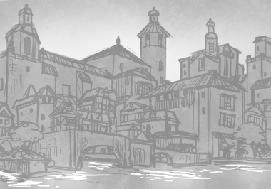 Romanesque Old City - sketch